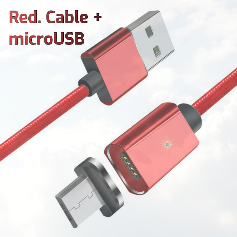 Magnetic Interchangeable USB-C/MicroUSB/iPhone Cable, 2 metre