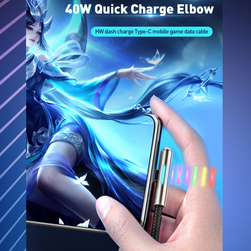 Tough 40w Fast Charge Compatible USB-C Cable with Colour Changing LED & 90 degree plug