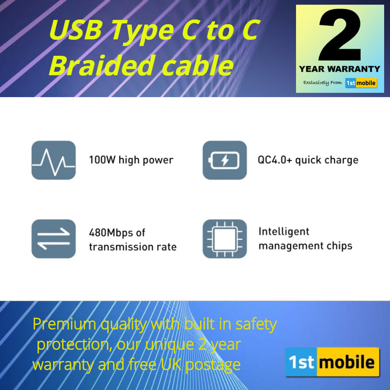 USB Type C to Type C cable for fast charging up to 100w. 1 or 2 metre