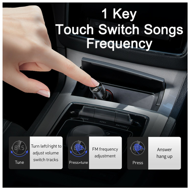 Dual USB Car Charger, Handsfree Calls and Music Player