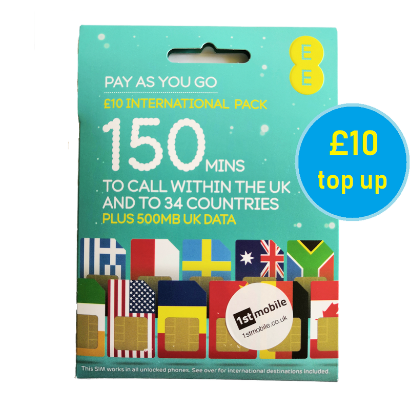FREE EE UK-INTERNATIONAL Pay As You Go Sim Cards
