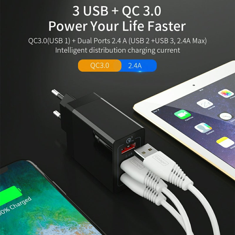 ESSAGER 3 Port USB Charger with Qualcomm 3.0 QuickCharge