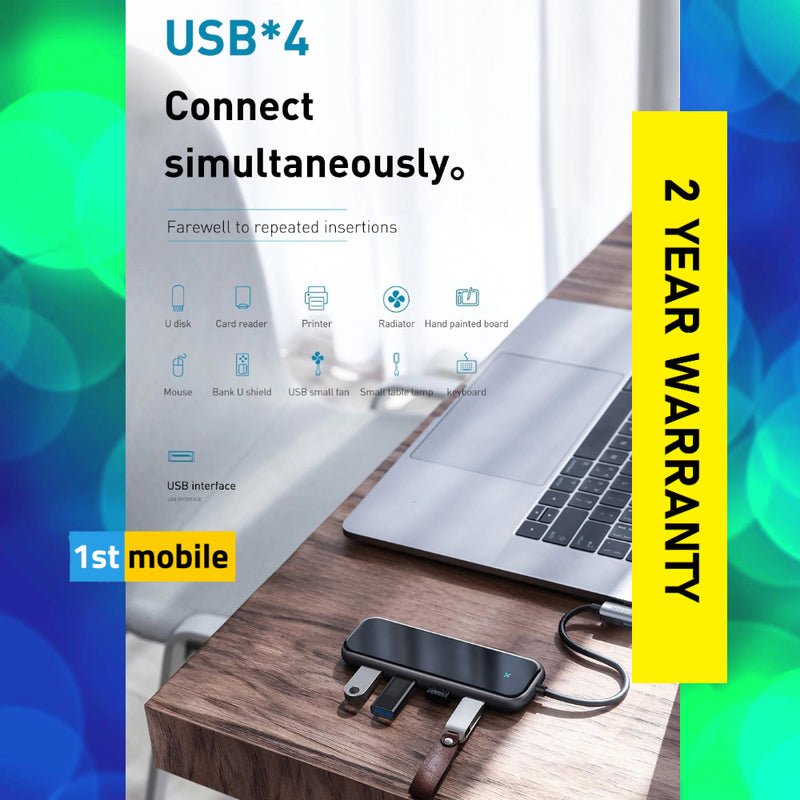 USB-C 4 Port Hub with 4 x USB3.0 Ports and 1 x USB-C powered port.