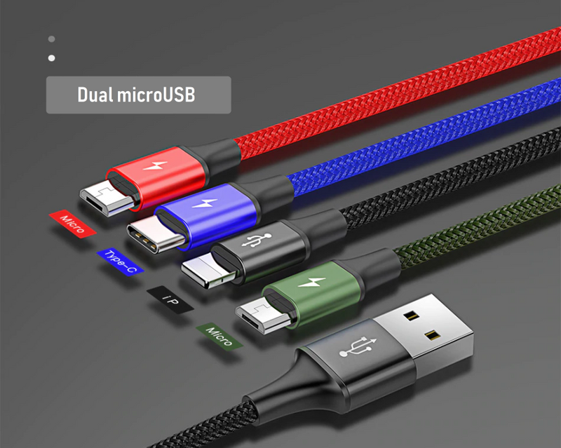 4 in 1 USB Cable for MicroUSB, USB-C, iPhone. 2 YEAR UK GUARANTEE