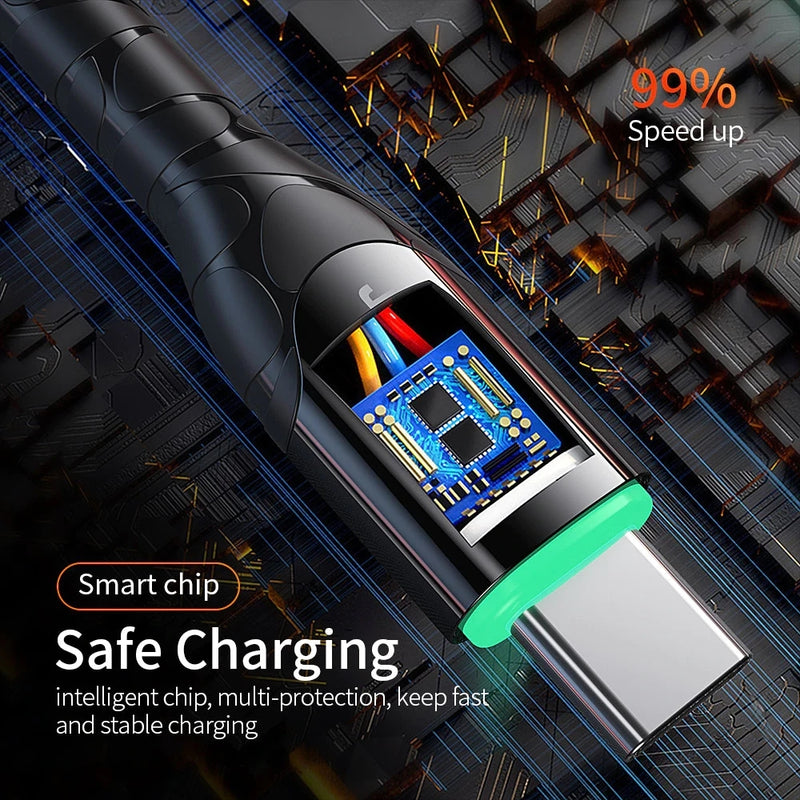 Strong Durable USB-C cable for fast charging up to 3A with LED indicator