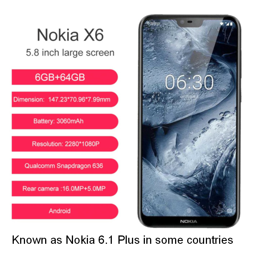 NOKIA X6 Dual Sim Android Smartphone, 6/64GB