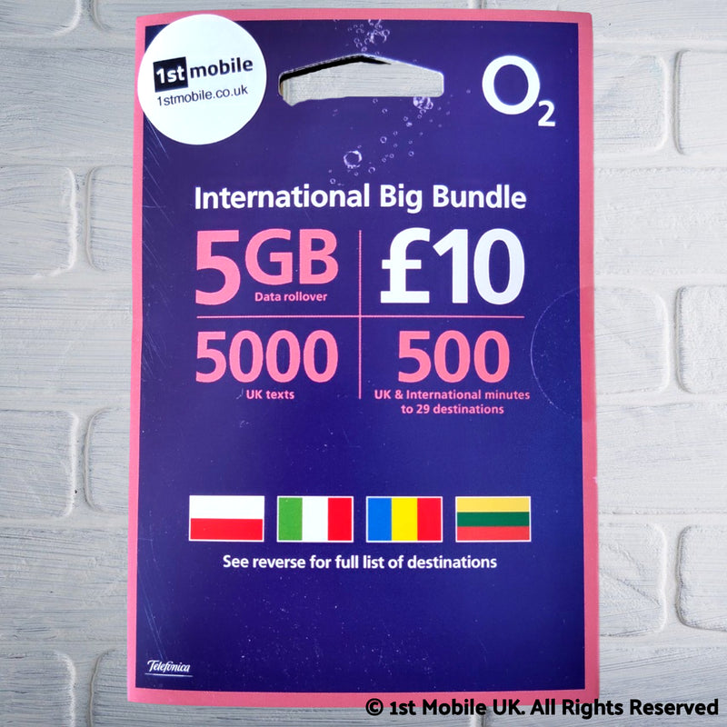 FREE O2 UK and International Big Bundle sim cards - NEW!