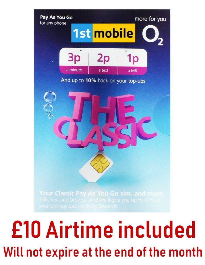 O2 Classic Pay As You Go sim cards with £10 airtime included