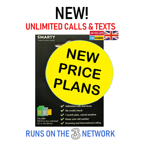 FREE SMARTY UK Pay As You Go Sim Cards - Plans from £6 - 30GB Data, Unlimited Minutes and Texts for just £10