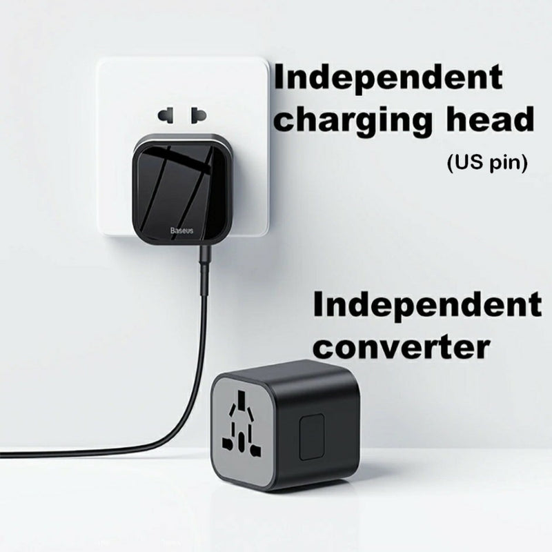 Dual Port USB & USB-C Travel Charger and Fused International Travel Adaptor UK-EU-USA-AUS