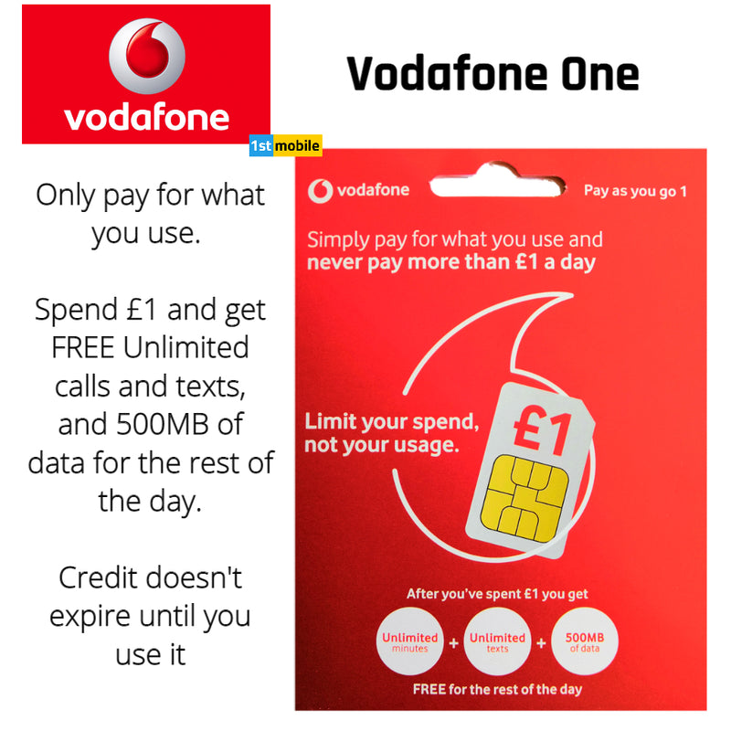 FREE Vodafone One UK Pay As You Go Sim Cards - Never spend more than £1 a day