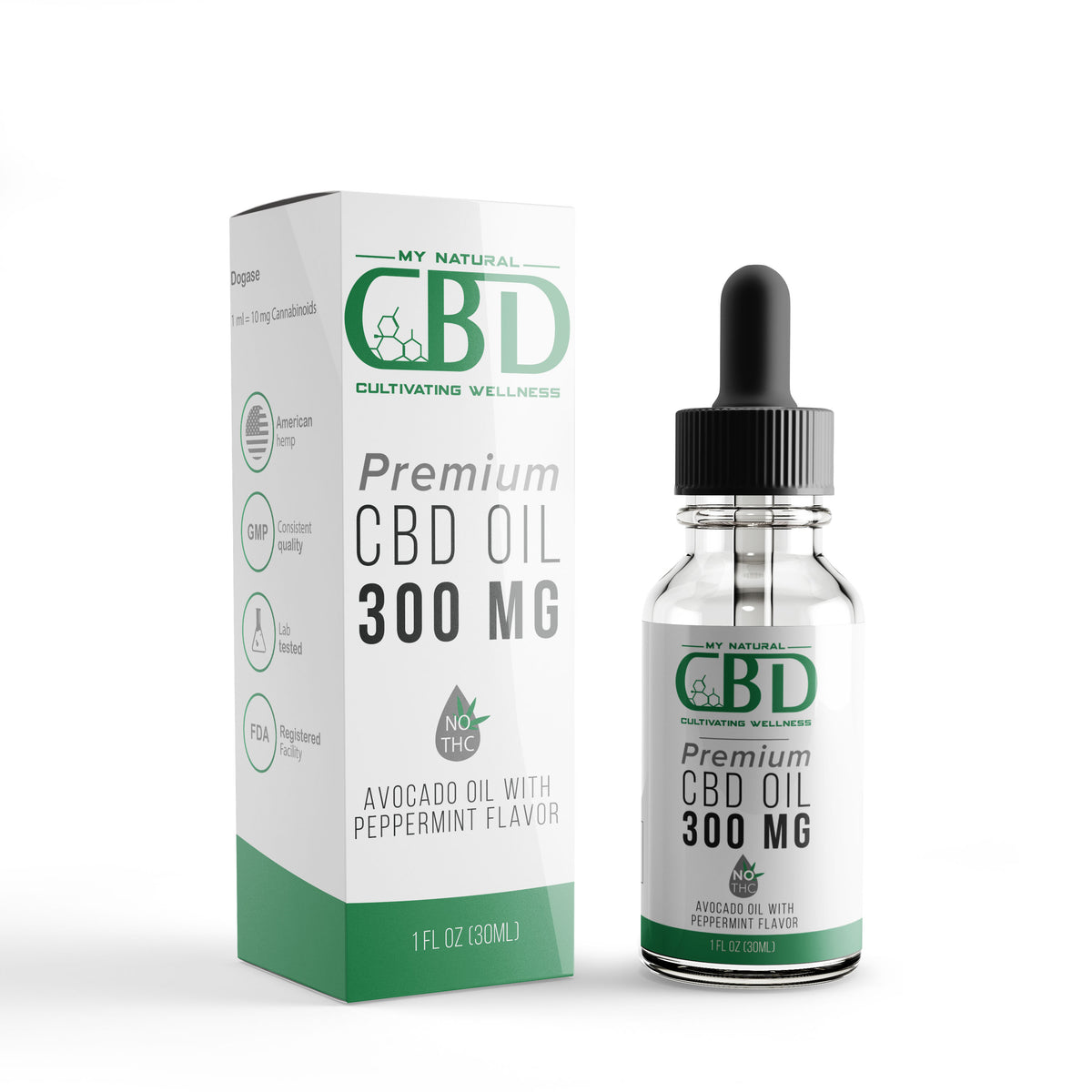 300 MG Isolate CBD Tincture peppermint flavored with avocado oil