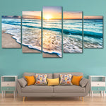 Beach At Sunset 5 Panel