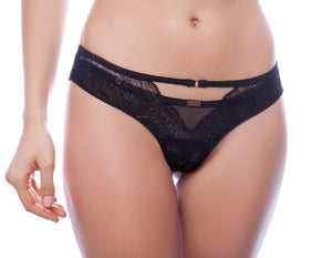 Black Lace and Mesh Thong - Lelek
