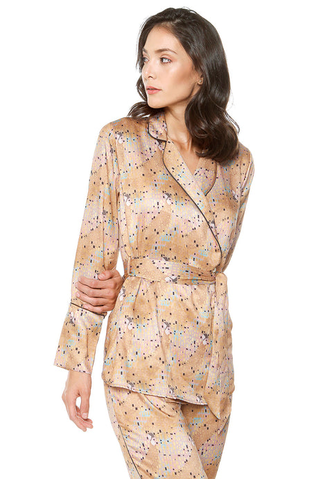 CRYSTAL 'WOMAN IN GOLD' LOUNGE SHIRT - Ayrawear