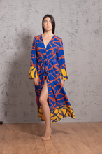 Load image into Gallery viewer, BLUE NAVY CHAINS KIMONO - Ayrawear