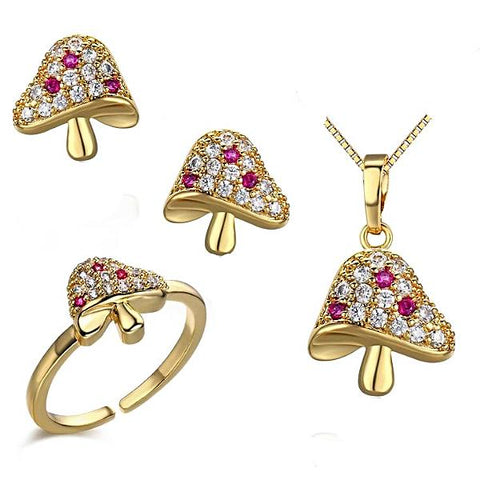 Delightful Gold Colored Mushroom Inspired Cubic Zirconia Jewelry Set - Ring, Earrings and Necklace - Multimush