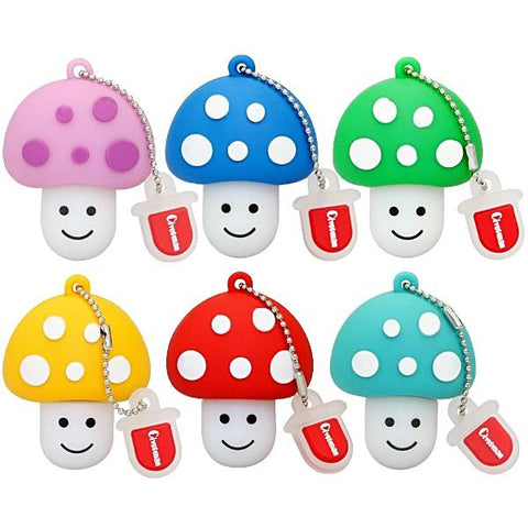 Simply Most Adorable Cartoon Smiley Mushrooms Memory Sticks - Multimush