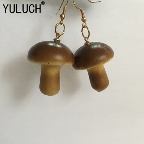 YULUCH Original novelty design small mushroom pendant earrings for girls jewelry accessories women simple street art earring - Multimush