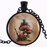 Caterpillar on a Mushroom Vintage Style Necklace  - Alice in Wonderland Inspired - Multimush