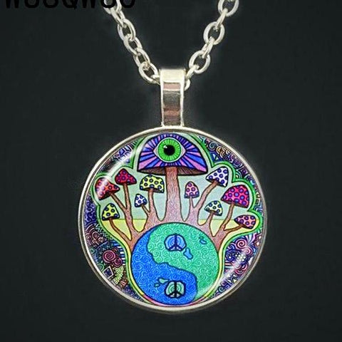 Fun and Trippy Mushroom Necklaces  - Botanical or Psychedelic - Multimush