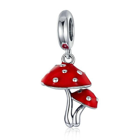Red Mushroom Sterling Silver Pendant Charm - Multimush