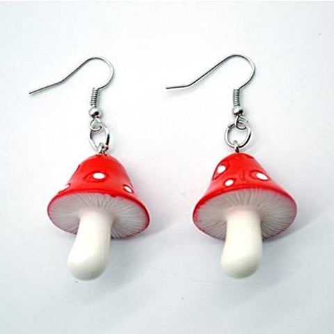 Pretty Purple or Red Mushroom Style Earrings - Multimush