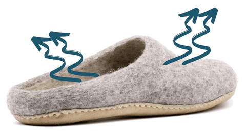 Nootkas wool slippers are wicking and breathable