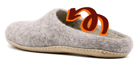 Nootkas wool slippers retain heat and insulate naturally.