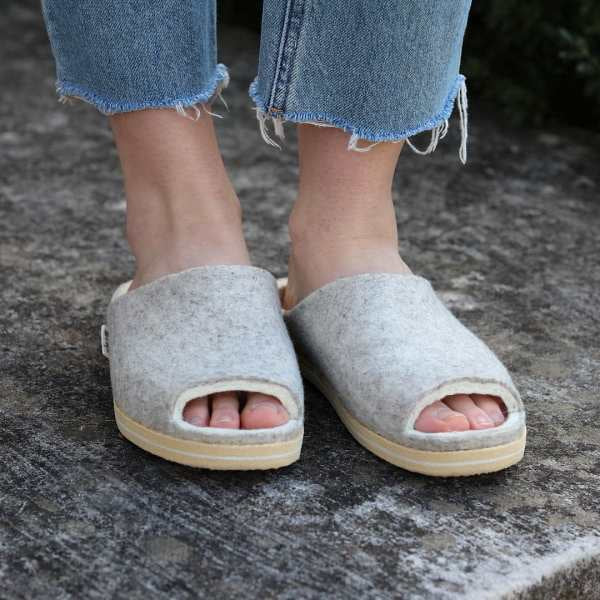 Heather Grey Wool Slipper Slide