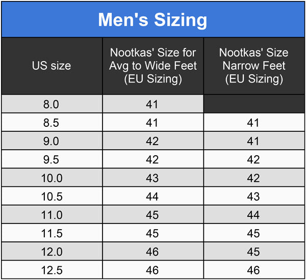 nootkas size chart for men