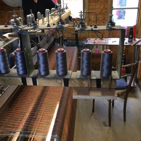 wool thread on loom