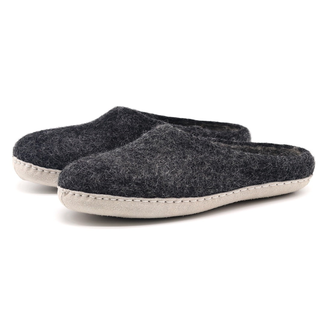 Men's Astoria Wool House Slippers in Charcoal