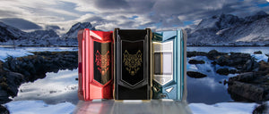 snow wolf 220w MFENG ux mod boxes in red, black, and blue