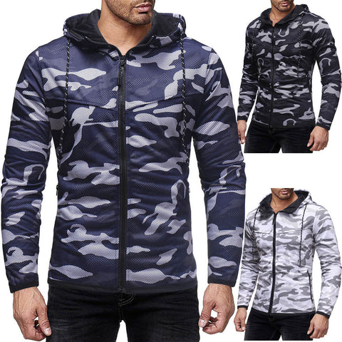 Men's Autumn Winter Camouflage Print Hoodie Sweatshirt Long SleeveTop Blouse