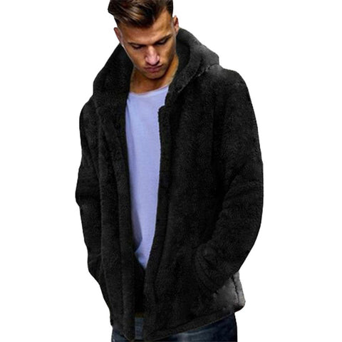 Fashion Men's Autumn Winter Casual Loose Double-Sided Plush Hoodie Tops Coat