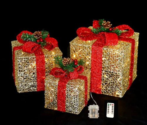 Gold/Red 3 Piece Christmas Gift Box Lighted Display