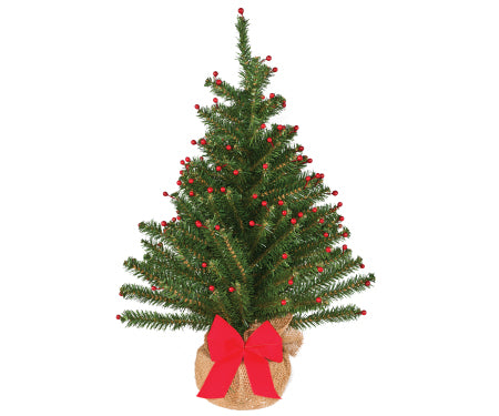 Norway Fir PVC Tabletop Tree with Berries
