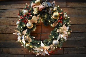 A Festive Gold & Taupe Red Berry Wreath