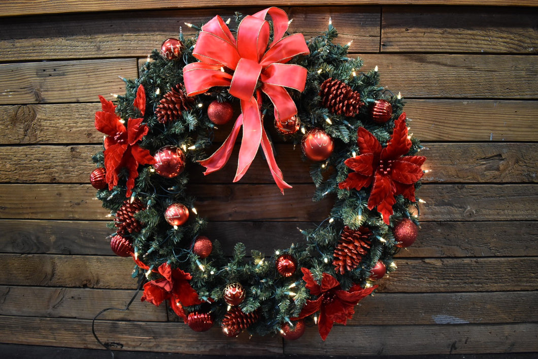 A beautiful festive red wreath