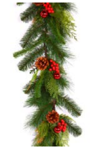 Branch garland with lifelike greens, pine cones, red berries, and shiny red ornaments.