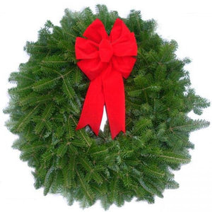 "Fresh 18"" Balsam Wreath. Wreath Hanger Included."
