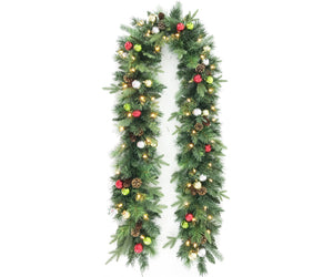 9' Garland With Ornaments & Pinecones