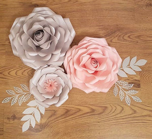 3 Piece Original Style Rose Set with 2 Leaves