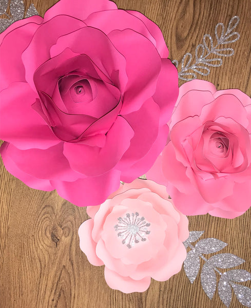 3 Piece Mia-Rose Style Rose Set with 2 Leaves