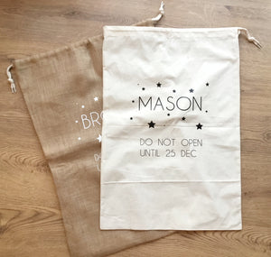 Personalised christmas sack.