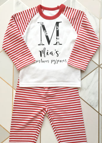 Personalised christmas pyjamas.
