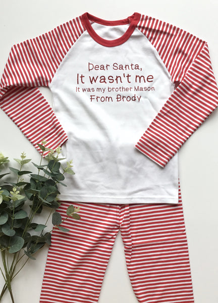 'It wasn't me' personalised christmas pyjamas.