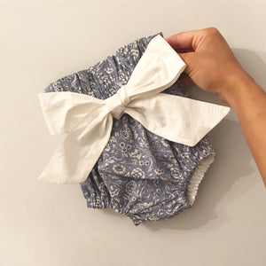 Blue Floral High Waisted Bloomers with bow belt