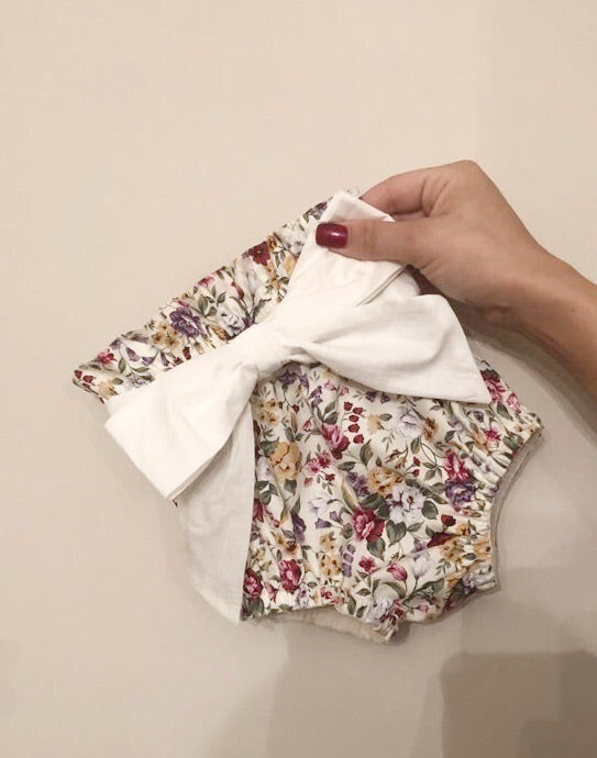 Vintage Floral High Waisted Bloomers with bow belt